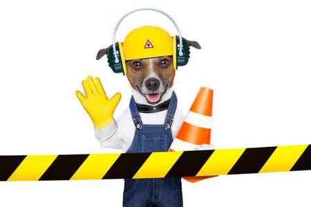 Foto de funny under construction dog asking to stop - Imagen libre de derechos