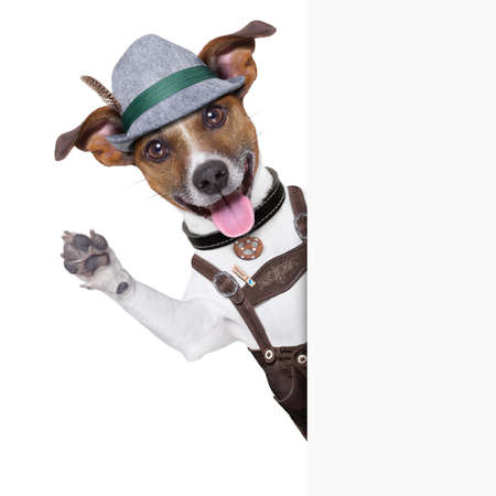 Foto de oktoberfest dog  smiling happy  and waving with paws - Imagen libre de derechos