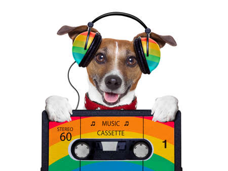 Photo pour dog listening to music from an old cassette of the 80´s - image libre de droit