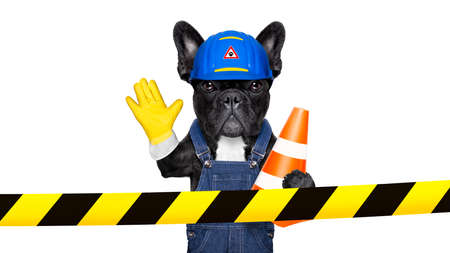 Photo pour worker  dog with helmet  behind warning tape ,work in progress, and stop gesture, , isolated on white background - image libre de droit