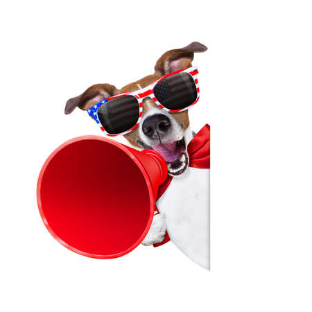 Photo pour jack russell dog  shouting with a megaphone 4th of July  on independence day, isolated on white background - image libre de droit