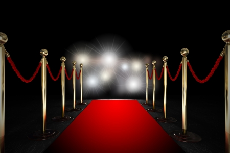 Photo for Red carpet between two rope barriers and flash light - Royalty Free Image