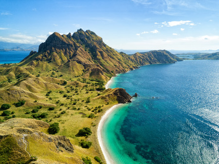 Photo for Aerial view of the northern part of Pulau Padar island in between Komodo and Rinca Islands near Labuan Bajo in Indonesia. - Royalty Free Image