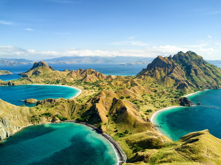 Photo for Aerial view of Pulau Padar island in between Komodo and Rinca Islands near Labuan Bajo in Indonesia. - Royalty Free Image