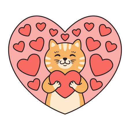 Illustrazione per Cat hugs a heart. Greeting cards for Valentines Day, Birthday, Mothers Day. Cartoon animal character vector illustration isolated on white background. Doodle cartoon style. - Immagini Royalty Free