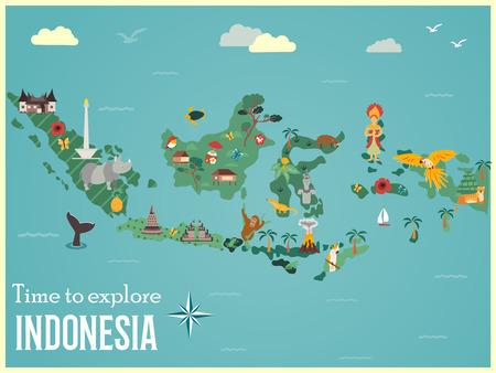 Illustration pour Indonesian map with animals and landmarks - image libre de droit