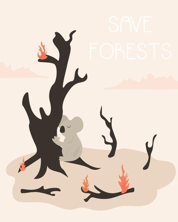 Ilustración de Eco Poster save forests. Burnt trees, burning branches and koala - Imagen libre de derechos
