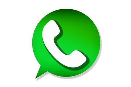 Ilustración de Florence, ITALY - APRIL 9, 2018: WhatsApp Messenger logo. WhatsApp Messenger is an instant messaging app for smartphones that operates under a subscription business model. - Imagen libre de derechos