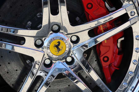 Photo pour Scarperia (Florence), Italy - March 2018: Close-up of a sports car in the Mugello Paddock. Ferrari SPA is an Italian luxury sports car manufacturer, founded by Enzo Ferrari. - image libre de droit