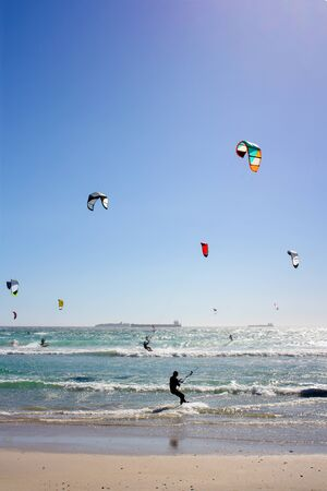 Kiteboarders at Milnerton Beach in Cape Town, South Africa