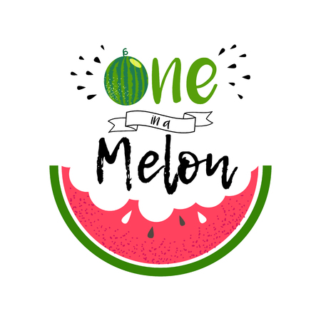 Ilustración de Cute love print with watermelon and lettering You are one in a melon. Summer greeting card design. Green and red watermelon. Vector fruit design for t-shirt. Background with cartoon illustration and quote. - Imagen libre de derechos