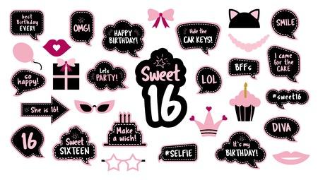 Ilustración de 16th birthday photobooth props set for sixteen - Imagen libre de derechos
