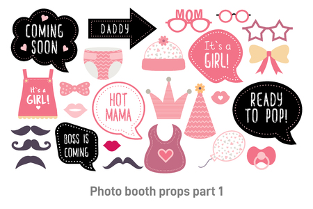 Illustration pour Baby shower photo booth props. Happy birthday party for girl. Pink cards and speech bubble with funny quotes for new born and parents. Vector photobooth set: bottle, nippel, stroller - image libre de droit