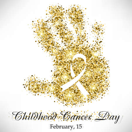 Illustrazione per Shape of child's hand from golden glitter with ribbon inside. Childhood Cancer day in February 15 isolated on white background. Vector illustration - Immagini Royalty Free