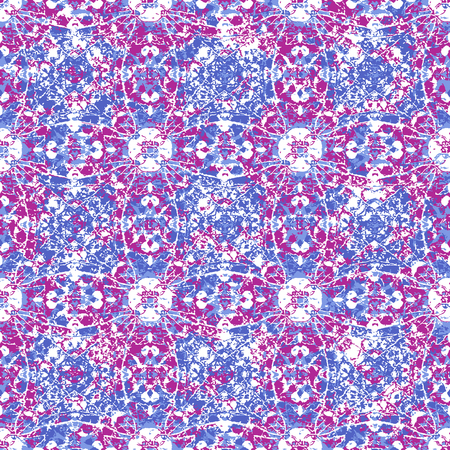 Photo for Digital art technique cracked ornate decorative ornate seamless pattern design in vivid magenta and blue colors - Royalty Free Image