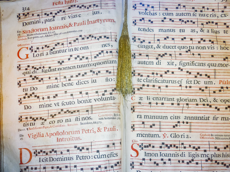 Photo for Gregorian style ancient music sheet detail view - Royalty Free Image