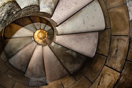 Foto de Interior view dangerous spiral staircase at famous church sacred family located in barcelona city, Spain - Imagen libre de derechos