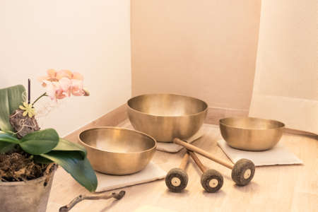 Photo for swinging singing bowl equipment wellness. - Royalty Free Image