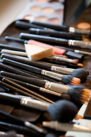 Closeup on a make-up artist s cosmetics