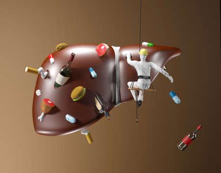 Foto de Illustration of cleaning of polluted liver on brown background - Imagen libre de derechos