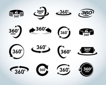 Illustration for 360 Degrees View Vector Icons set. Virtual reality icons. Isolated vector illustrations. Black and white version. - Royalty Free Image