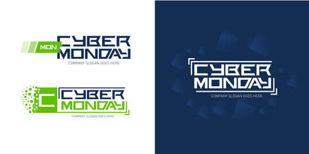 Illustration pour Cyber monday logo design templates with dark blue abstract background, vector illustration. - image libre de droit