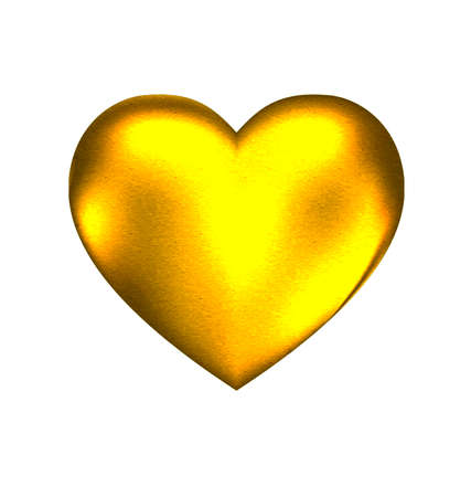 Illustration for a white background and a large solid golden heart - Royalty Free Image