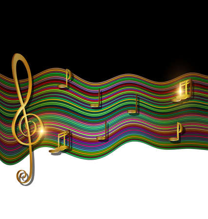 Illustration pour abstract colored background image of music consisting of lines, notes and waves - image libre de droit