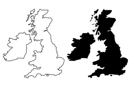 Illustration pour British Isles map vector illustration, scribble sketch British Isles - image libre de droit