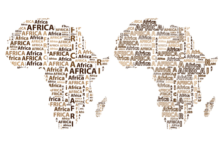 Illustration pour Sketch african letter text continent, African word - in the shape of the continent, Map of continent Africa - vector illustration - image libre de droit