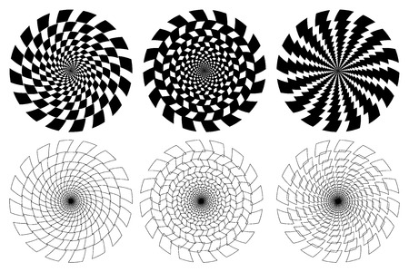 Illustration pour Black and white spirals of the rectangles radial expanding from the center, Optical illusion - chessboard swirl, - image libre de droit