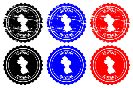 Illustration pour Guyana - rubber stamp - vector, Co-operative Republic of Guyana map pattern - sticker - black, blue and red - image libre de droit