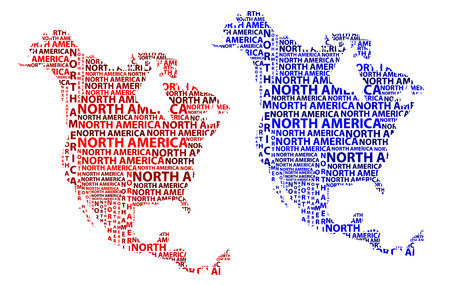 Illustration pour Sketch North America letter text continent, North America word - in the shape of the continent, Map of continent North America - red and blue vector illustration - image libre de droit