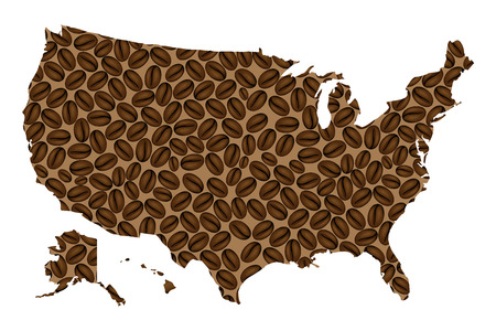 Illustration pour United States of America -  map of coffee bean,  United States (U.S.),(USA) map made of coffee beans, - image libre de droit
