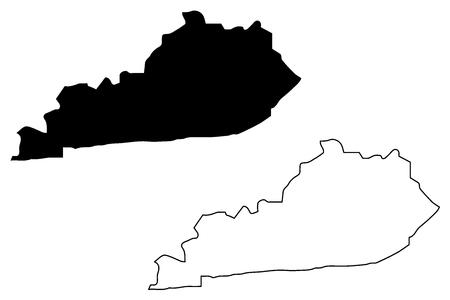 Illustration pour  Kentucky map vector illustration, scribble sketch  Kentucky map - image libre de droit