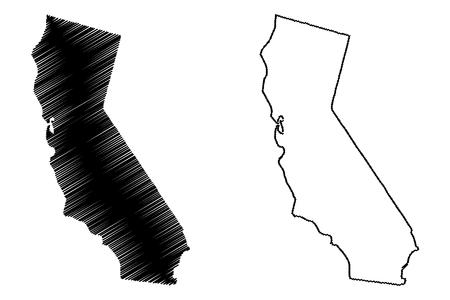 Illustration pour California map vector illustration, scribble sketch California map - image libre de droit
