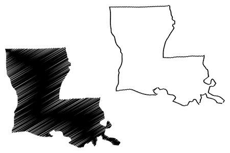 Illustration pour Louisiana map vector illustration, scribble sketch Louisiana map - image libre de droit