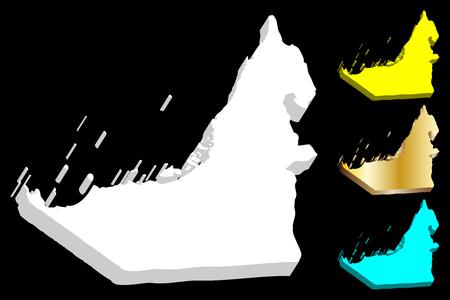 Illustration pour 3D map of United Arab Emirates (UAE, Emirates) - white, yellow, blue and gold - vector illustration - image libre de droit