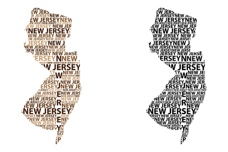 Illustration pour Sketch New Jersey (United States of America) letter text map, New Jersey map - in the shape of the continent, Map New Jersey - brown and black vector illustration - image libre de droit