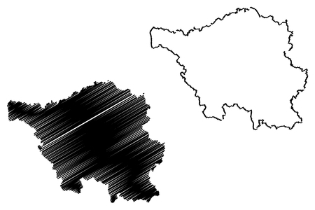 Illustration pour Saarland (Federal Republic of Germany, State of Germany) map vector illustration, scribble sketch Saarland map - image libre de droit