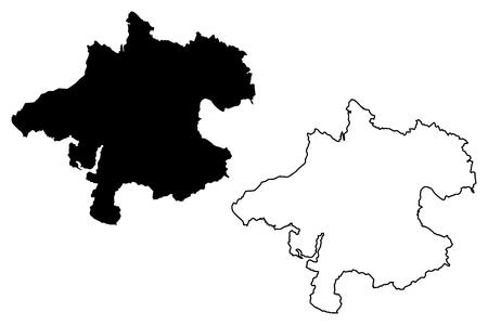 Illustration pour Upper Austria (Republic of Austria, Austro-Bavarian) map vector illustration, scribble sketch Upper Austria map - image libre de droit