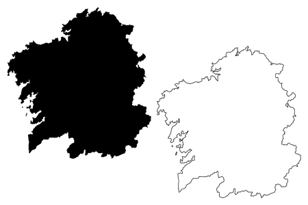 Illustration pour Galicia (Kingdom of Spain, Autonomous community) map vector illustration, scribble sketch Galicia (Spain) map - image libre de droit