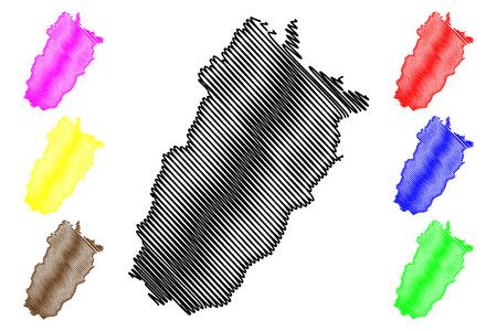 Illustration pour Punjab (Province of Pakistan, Islamic Republic of Pakistan, Administrative units and Districts of Pakistan) map vector illustration, scribble sketch Punjab province map - image libre de droit