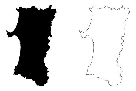 Illustration pour Akita Prefecture (Administrative divisions of Japan, Prefectures of Japan) map vector illustration, scribble sketch Akita map - image libre de droit
