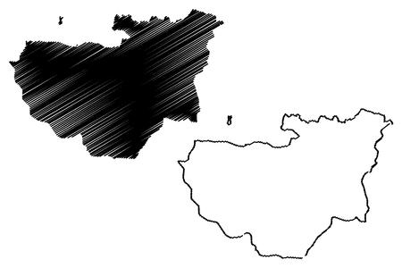 Illustration pour Bursa (Provinces of the Republic of Turkey) map vector illustration, scribble sketch Bursa ili map - image libre de droit
