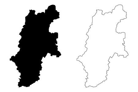Illustration pour Nagano Prefecture (Administrative divisions of Japan, Prefectures of Japan) map vector illustration, scribble sketch Nagano map - image libre de droit