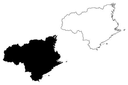 Illustration pour Tokushima Prefecture (Administrative divisions of Japan, Prefectures of Japan) map vector illustration, scribble sketch Tokushima map - image libre de droit