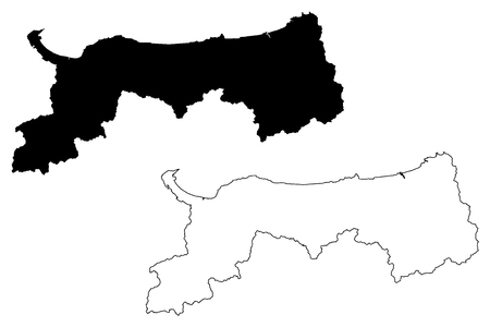 Illustration pour Tottori Prefecture (Administrative divisions of Japan, Prefectures of Japan) map vector illustration, scribble sketch Tottori map - image libre de droit
