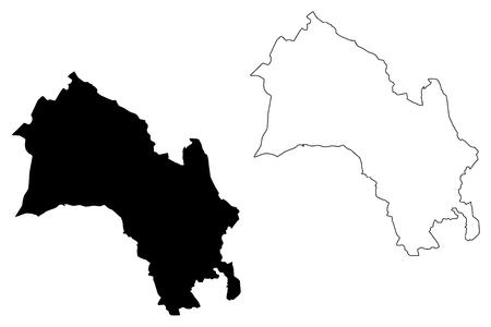 Illustration pour Buskerud (Administrative divisions of Norway, Kingdom of Norway) map vector illustration, scribble sketch Buskerud fylke map - image libre de droit