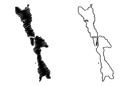 Illustration pour Mon State (Administrative divisions of Myanmar, Republic of the Union of Myanmar, Burma) map vector illustration, scribble sketch Mon State map - image libre de droit